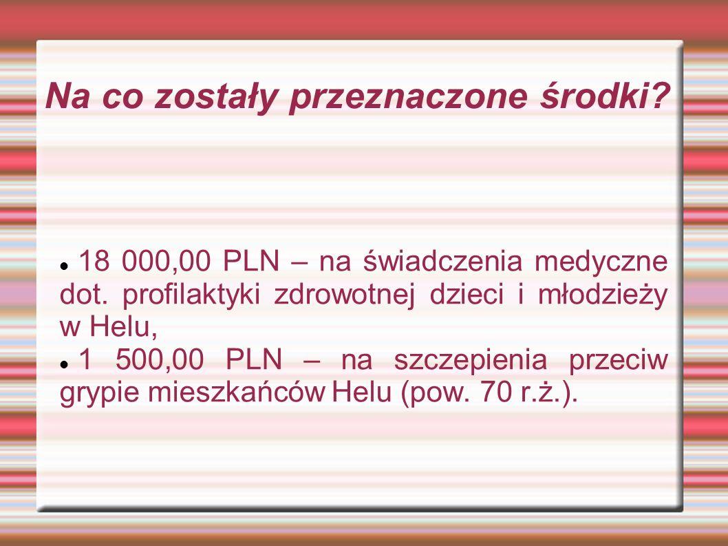 Na co zostały przeznaczone środki.18 000,00 PLN – na świadczenia medyczne dot.