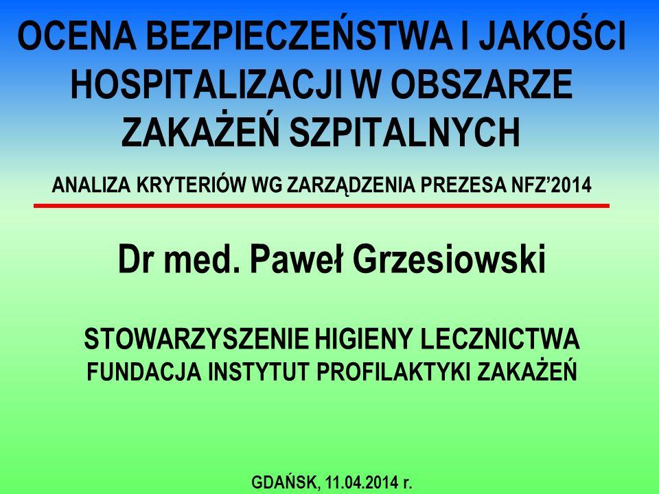 OCENA BEZPIECZEŃSTWA I JAKOŚCI HOSPITALIZACJI W OBSZARZE ZAKAŻEŃ SZPITALNYCH ANALIZA KRYTERIÓW WG ZARZĄDZENIA PREZESA NFZ'2014 Dr med.