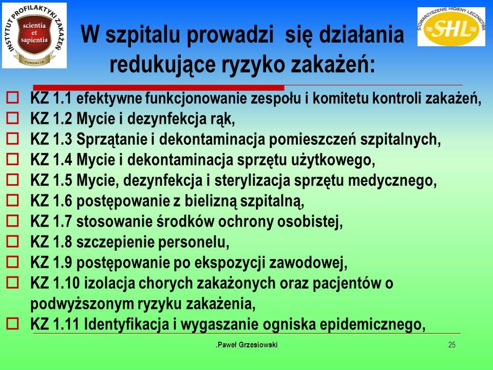 W szpitalu prowadzi się działania redukujące ryzyko zakażeń:  KZ 1.1 efektywne funkcjonowanie zespołu i komitetu kontroli zakażeń,  KZ 1.2 Mycie i dezynfekcja rąk,  KZ 1.3 Sprzątanie i dekontaminacja pomieszczeń szpitalnych,  KZ 1.4 Mycie i dekontaminacja sprzętu użytkowego,  KZ 1.5 Mycie, dezynfekcja i sterylizacja sprzętu medycznego,  KZ 1.6 postępowanie z bielizną szpitalną,  KZ 1.7 stosowanie środków ochrony osobistej,  KZ 1.8 szczepienie personelu,  KZ 1.9 postępowanie po ekspozycji zawodowej,  KZ 1.10 izolacja chorych zakażonych oraz pacjentów o podwyższonym ryzyku zakażenia,  KZ 1.11 Identyfikacja i wygaszanie ogniska epidemicznego, 25.Paweł Grzesiowski