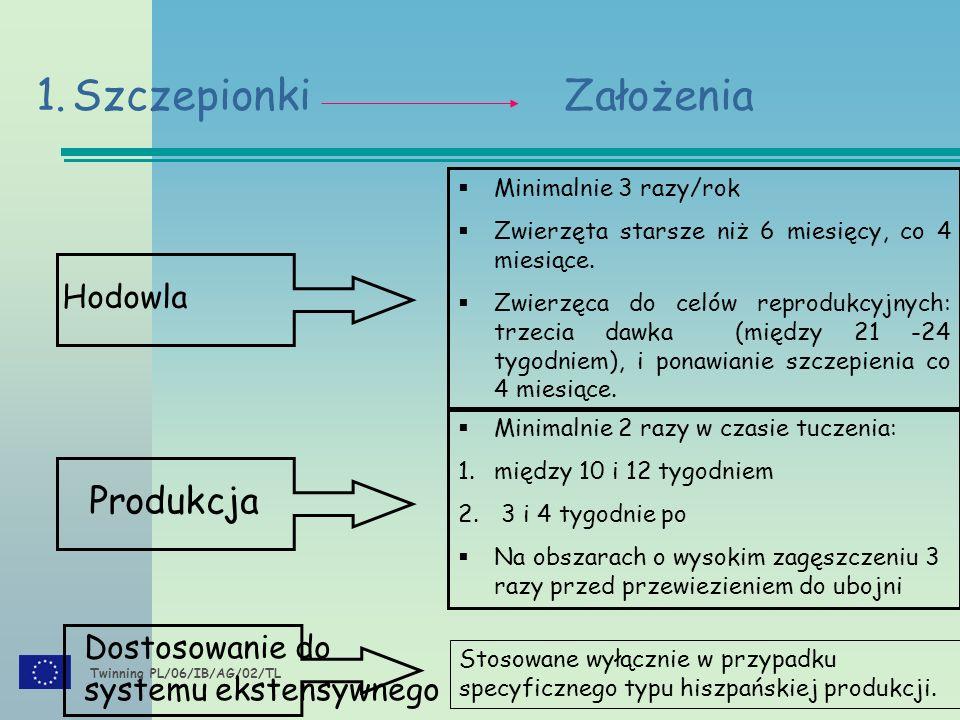 Twinning PL/06/IB/AG/02/TL 1.Szczepionki Założenia Dostosowanie do systemu ekstensywnego Hodowla  Minimalnie 3 razy/rok  Zwierzęta starsze niż 6 miesięcy, co 4 miesiące.