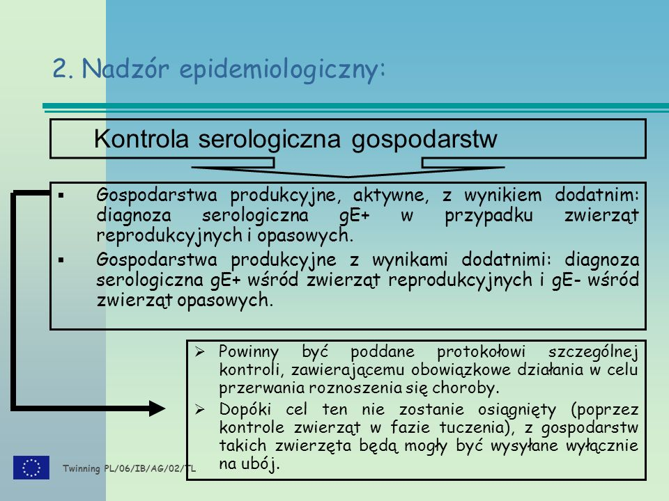 Twinning PL/06/IB/AG/02/TL  Gospodarstwa produkcyjne, aktywne, z wynikiem dodatnim: diagnoza serologiczna gE+ w przypadku zwierząt reprodukcyjnych i opasowych.