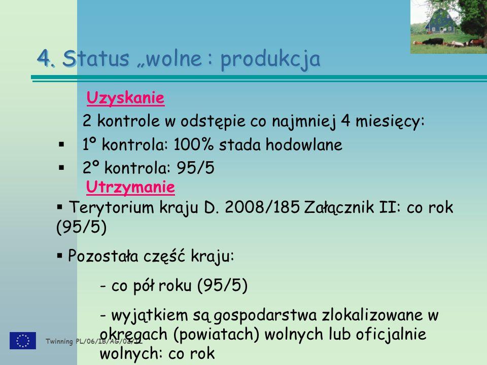"""Twinning PL/06/IB/AG/02/TL Uzyskanie 2 kontrole w odstępie co najmniej 4 miesięcy:  1º kontrola: 100% stada hodowlane  2º kontrola: 95/5 4. Status """""""