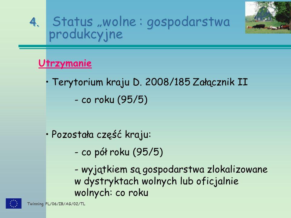 """Twinning PL/06/IB/AG/02/TL 4. Status """"wolne : gospodarstwa produkcyjne Utrzymanie Terytorium kraju D. 2008/185 Załącznik II - co roku (95/5) Pozostała"""