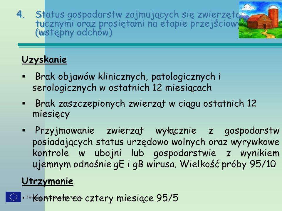Twinning PL/06/IB/AG/02/TL 4.Status gospodarstw zajmujących się zwierzętami tucznymi oraz prosiętami na etapie przejściowym (wstępny odchów) Uzyskanie
