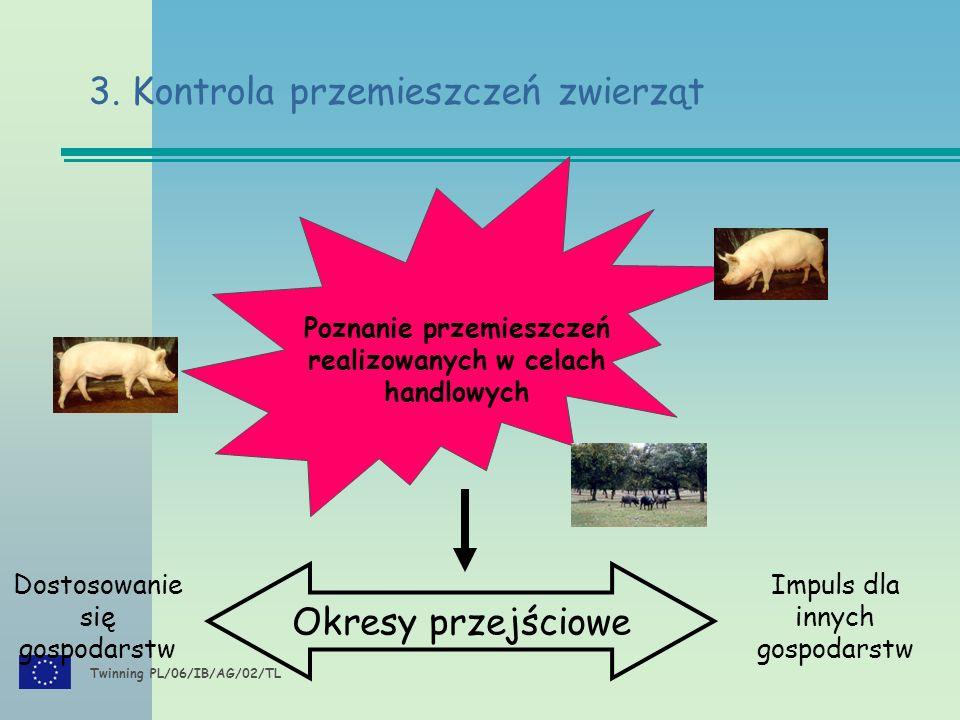 Twinning PL/06/IB/AG/02/TL Poznanie przemieszczeń realizowanych w celach handlowych Okresy przejściowe Dostosowanie się gospodarstw Impuls dla innych gospodarstw 3.