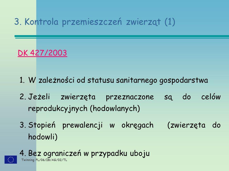 Twinning PL/06/IB/AG/02/TL DK 427/2003 1.W zależności od statusu sanitarnego gospodarstwa 2.Jeżeli zwierzęta przeznaczone są do celów reprodukcyjnych (hodowlanych) 3.Stopień prewalencji w okręgach (zwierzęta do hodowli) 4.Bez ograniczeń w przypadku uboju 3.
