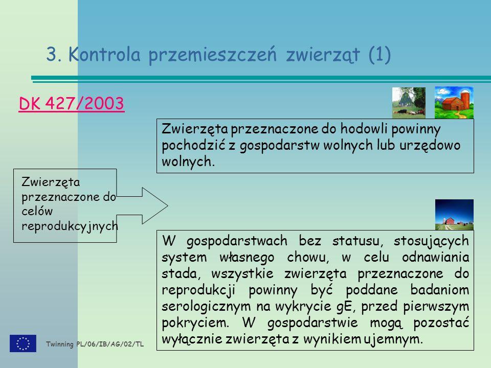 Twinning PL/06/IB/AG/02/TL DK 427/2003 3. Kontrola przemieszczeń zwierząt (1) Zwierzęta przeznaczone do celów reprodukcyjnych W gospodarstwach bez sta
