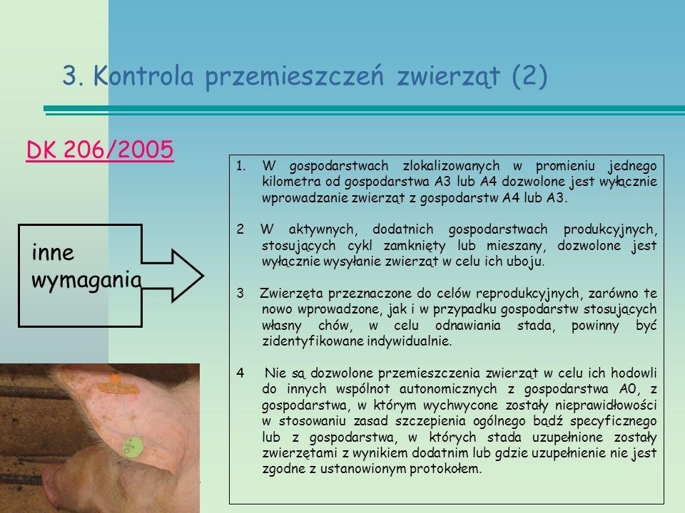 Twinning PL/06/IB/AG/02/TL DK 206/2005 3. Kontrola przemieszczeń zwierząt (2) inne wymagania 1.W gospodarstwach zlokalizowanych w promieniu jednego ki