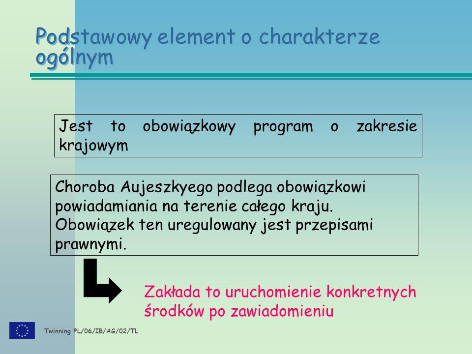 Twinning PL/06/IB/AG/02/TL Podstawowy element o charakterze ogólnym Jest to obowiązkowy program o zakresie krajowym Choroba Aujeszkyego podlega obowiązkowi powiadamiania na terenie całego kraju.
