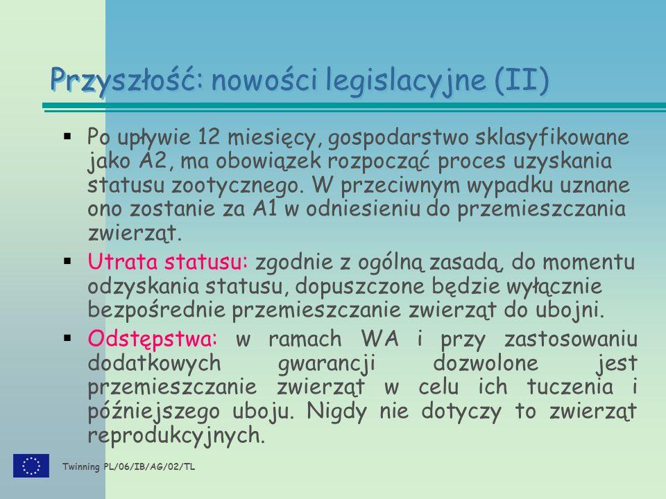 Twinning PL/06/IB/AG/02/TL  Po upływie 12 miesięcy, gospodarstwo sklasyfikowane jako A2, ma obowiązek rozpocząć proces uzyskania statusu zootycznego.