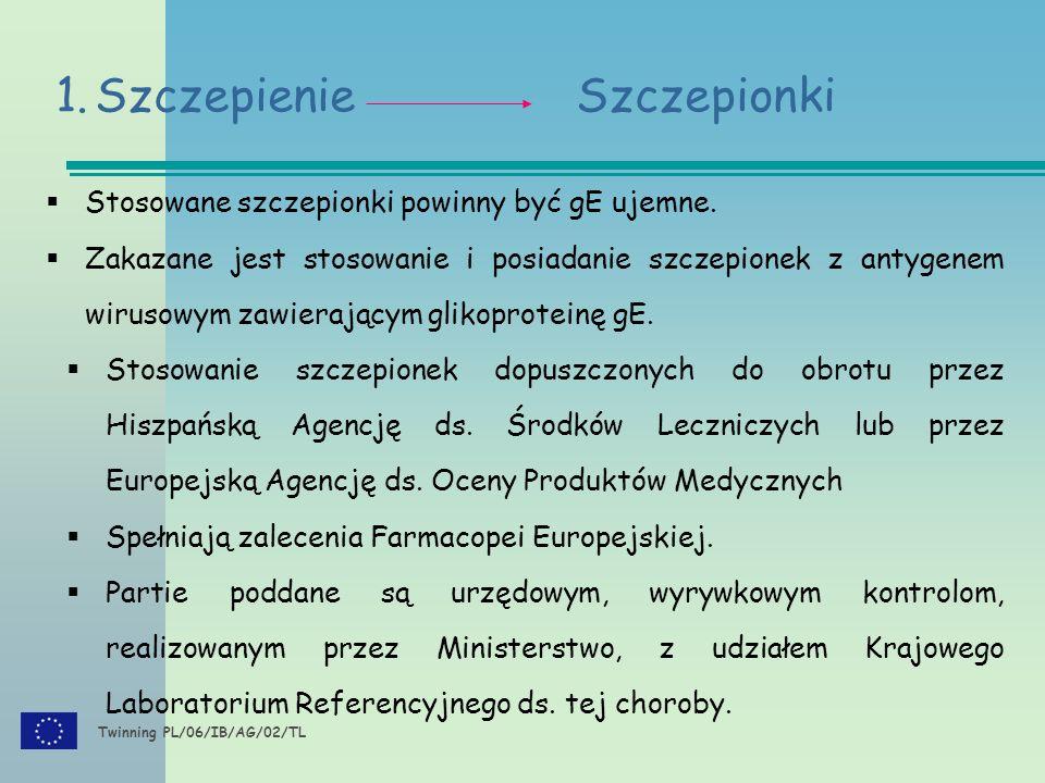 Twinning PL/06/IB/AG/02/TL 1.Szczepienie Szczepionki  Stosowane szczepionki powinny być gE ujemne.  Zakazane jest stosowanie i posiadanie szczepione