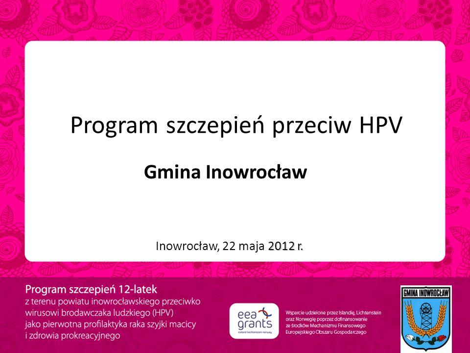 Program szczepień przeciw HPV Gmina Inowrocław 2012 r. Inowrocław, 22 maja 2012 r.