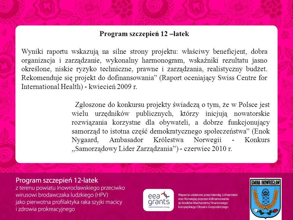 Program szczepień 12 –latek Wyniki raportu wskazują na silne strony projektu: właściwy beneficjent, dobra organizacja i zarządzanie, wykonalny harmono