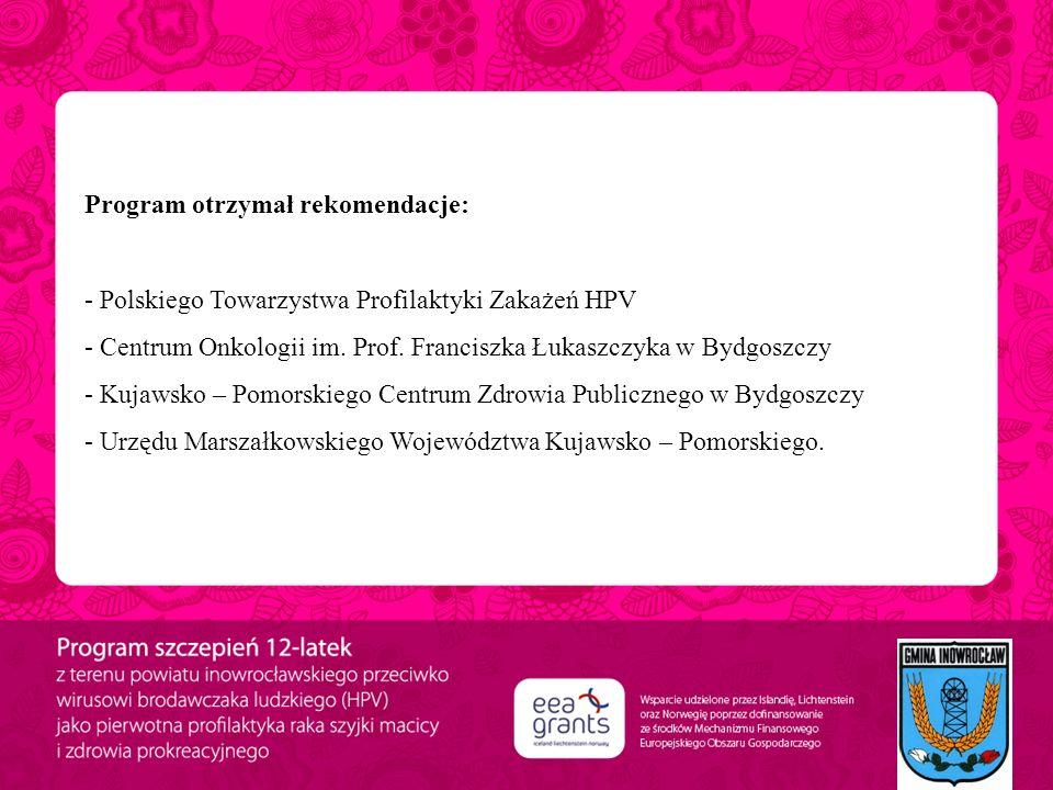 Program otrzymał rekomendacje: - Polskiego Towarzystwa Profilaktyki Zakażeń HPV - Centrum Onkologii im. Prof. Franciszka Łukaszczyka w Bydgoszczy - Ku