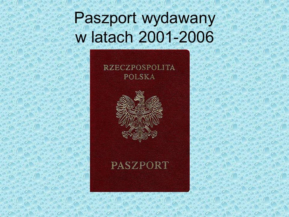 Paszport wydawany w latach 2001-2006