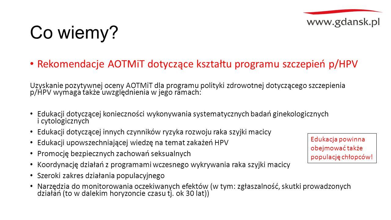 Co wiemy? Rekomendacje AOTMiT dotyczące kształtu programu szczepień p/HPV Uzyskanie pozytywnej oceny AOTMiT dla programu polityki zdrowotnej dotyczące