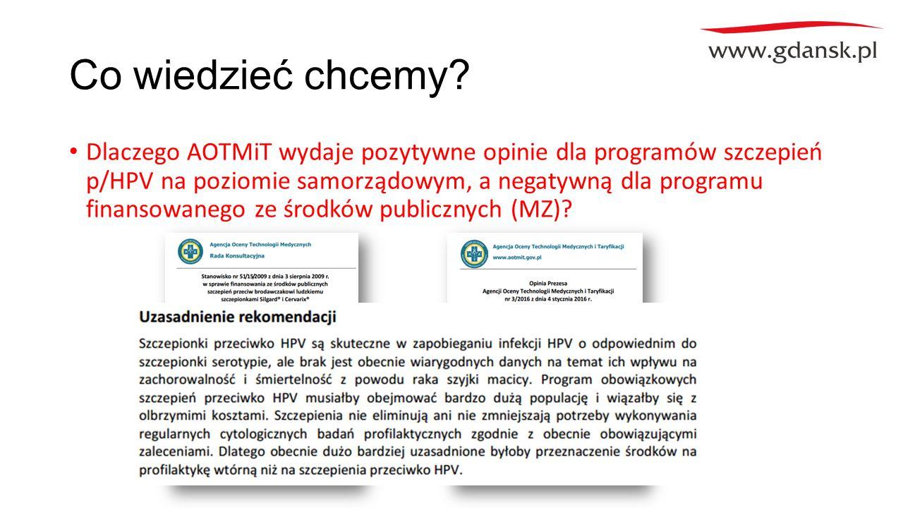 Co wiedzieć chcemy? Dlaczego AOTMiT wydaje pozytywne opinie dla programów szczepień p/HPV na poziomie samorządowym, a negatywną dla programu finansowa