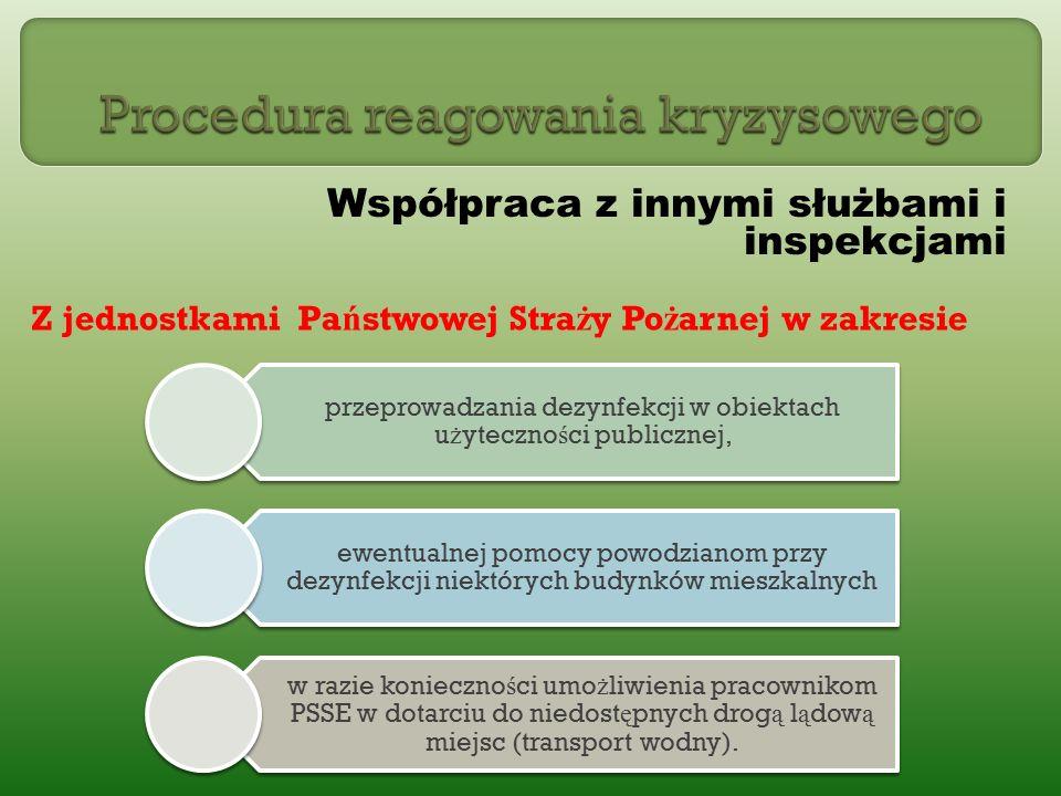 Współpraca z innymi służbami i inspekcjami Z jednostkami Pa ń stwowej Stra ż y Po ż arnej w zakresie przeprowadzania dezynfekcji w obiektach użyteczności publicznej, ewentualnej pomocy powodzianom przy dezynfekcji niektórych budynków mieszkalnych w razie konieczności umożliwienia pracownikom PSSE w dotarciu do niedostępnych drogą lądową miejsc (transport wodny).