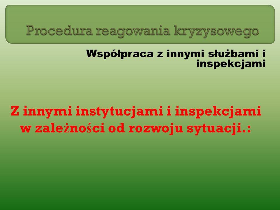 Współpraca z innymi służbami i inspekcjami Z innymi instytucjami i inspekcjami w zale ż no ś ci od rozwoju sytuacji.: