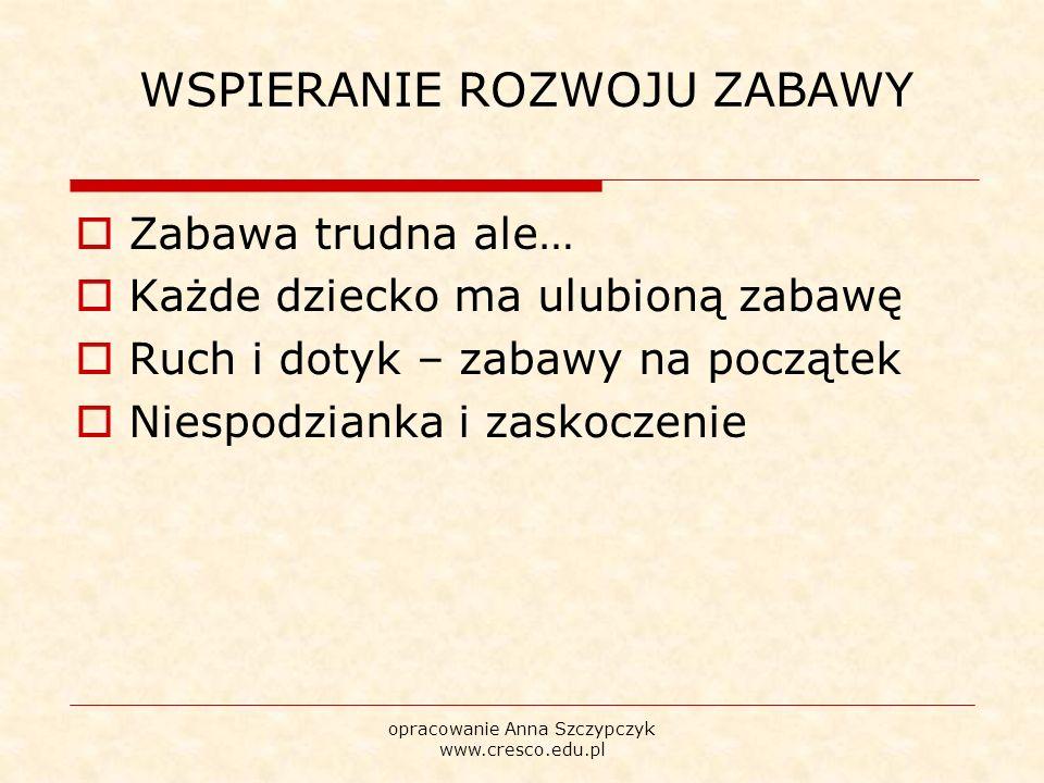 WSPIERANIE ROZWOJU ZABAWY  Zabawa trudna ale…  Każde dziecko ma ulubioną zabawę  Ruch i dotyk – zabawy na początek  Niespodzianka i zaskoczenie opracowanie Anna Szczypczyk www.cresco.edu.pl