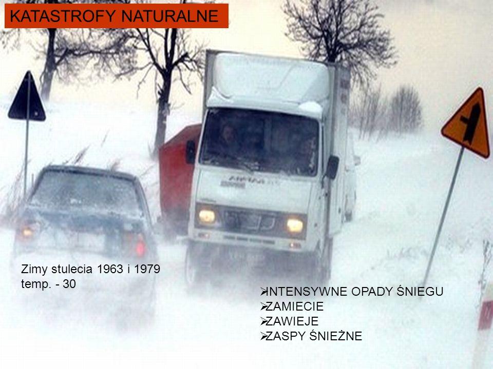 KATASTROFY NATURALNE  INTENSYWNE OPADY ŚNIEGU  ZAMIECIE  ZAWIEJE  ZASPY ŚNIEŻNE Zimy stulecia 1963 i 1979 temp. - 30