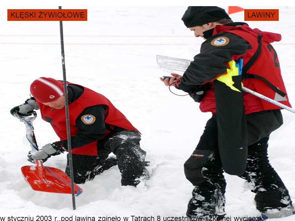 KLĘSKI ŻYWIOŁOWELAWINY w styczniu 2003 r.,pod lawiną zginęło w Tatrach 8 uczestników szkolnej wycieczki.