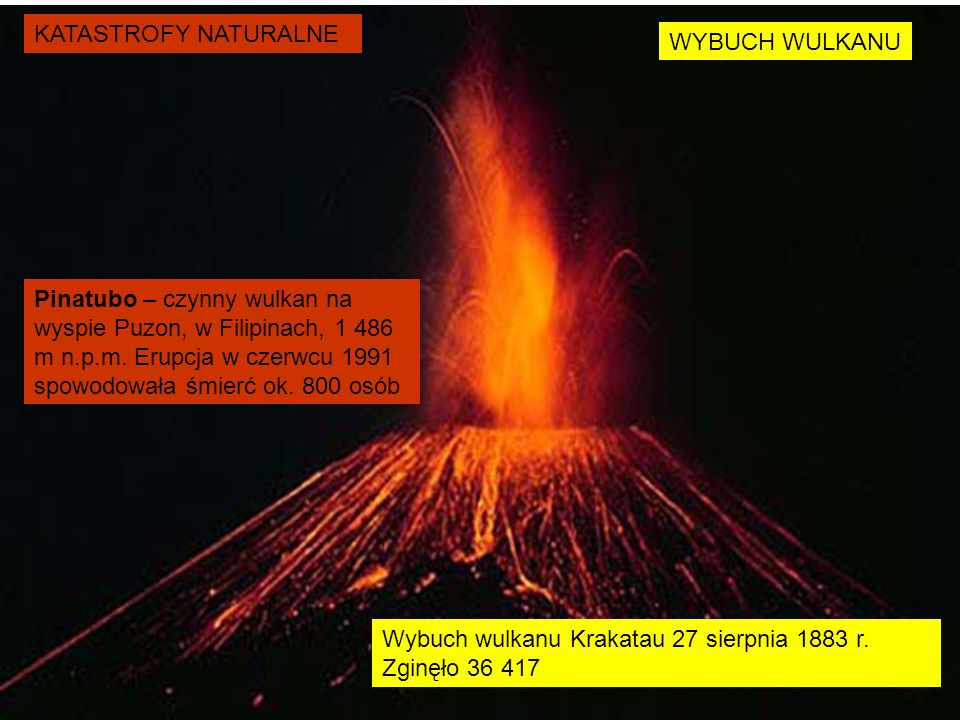 KATASTROFY NATURALNE WYBUCH WULKANU Pinatubo – czynny wulkan na wyspie Puzon, w Filipinach, 1 486 m n.p.m. Erupcja w czerwcu 1991 spowodowała śmierć o