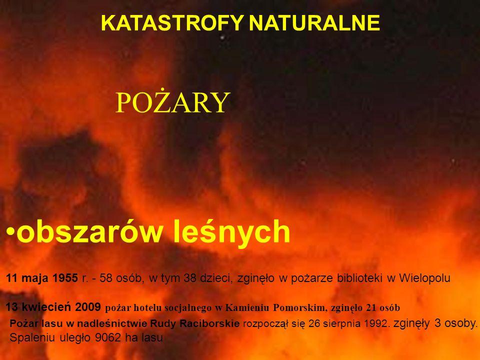 KATASTROFY NATURALNE obszarów leśnych POŻARY 11 maja 1955 r. - 58 osób, w tym 38 dzieci, zginęło w pożarze biblioteki w Wielopolu 13 kwiecień 2009 poż