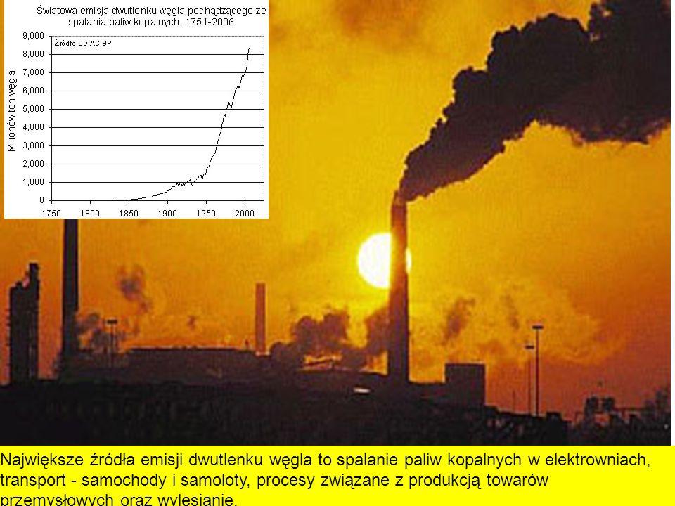 Największe źródła emisji dwutlenku węgla to spalanie paliw kopalnych w elektrowniach, transport - samochody i samoloty, procesy związane z produkcją t