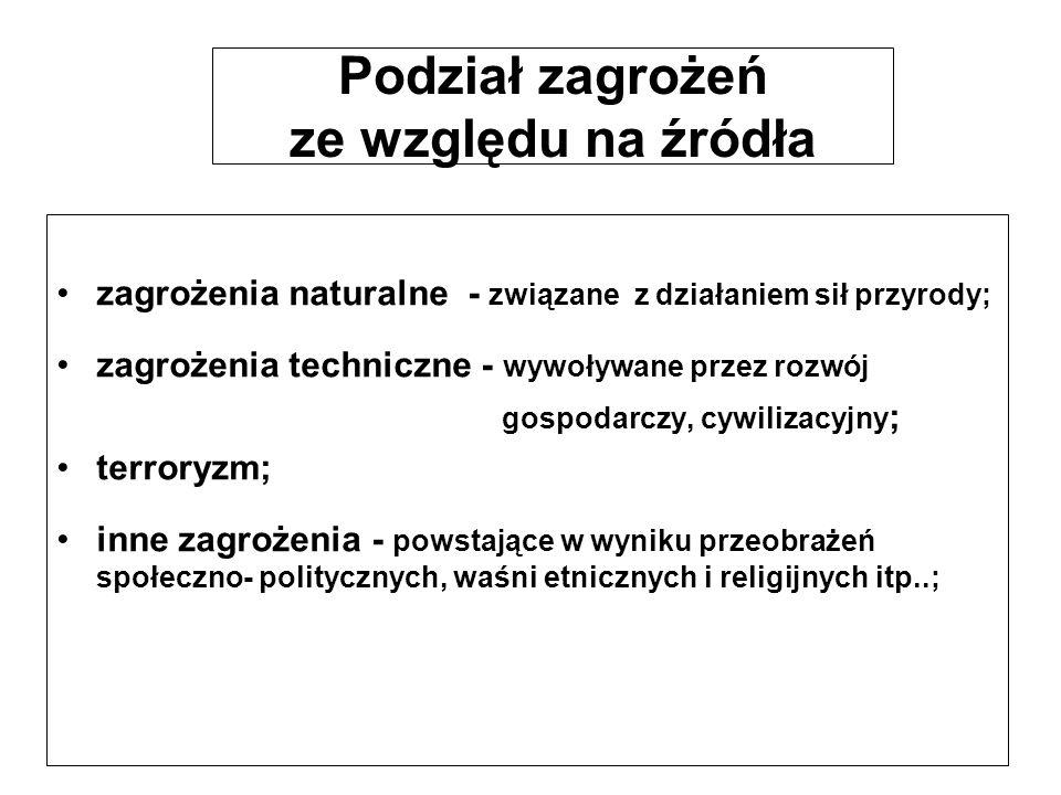 Podział zagrożeń ze względu na źródła zagrożenia naturalne - związane z działaniem sił przyrody; zagrożenia techniczne - wywoływane przez rozwój gospo