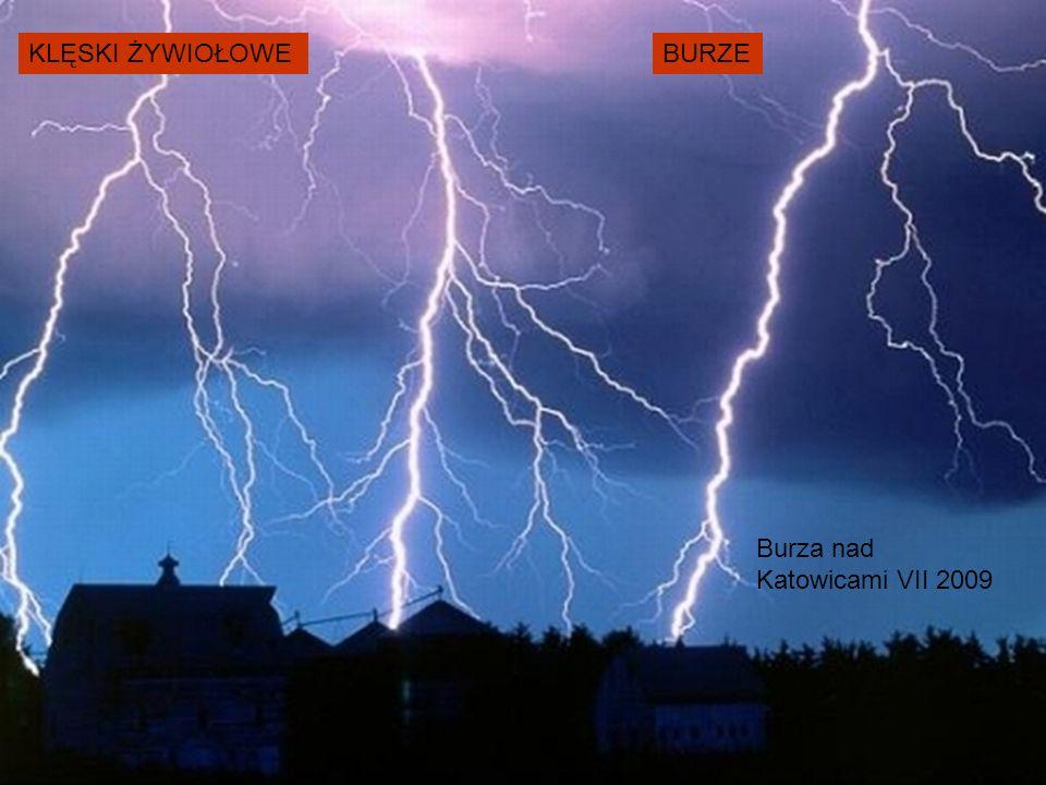 KLĘSKI ŻYWIOŁOWE Burza nad Katowicami VII 2009 BURZE