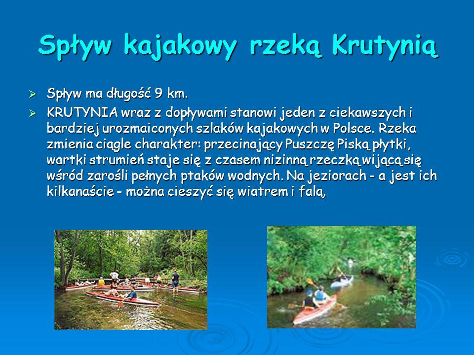 Spływ kajakowy rzeką Krutynią  Spływ ma długość 9 km.  KRUTYNIA wraz z dopływami stanowi jeden z ciekawszych i bardziej urozmaiconych szlaków kajako