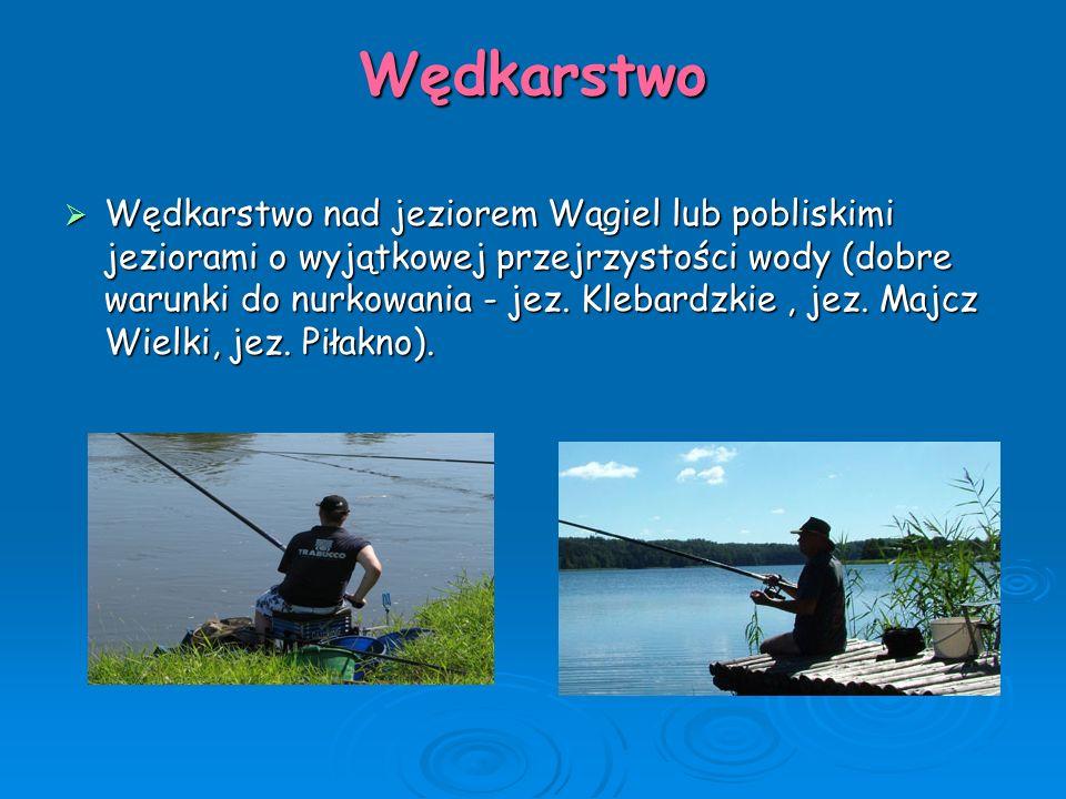 Wędkarstwo  Wędkarstwo nad jeziorem Wągiel lub pobliskimi jeziorami o wyjątkowej przejrzystości wody (dobre warunki do nurkowania - jez. Klebardzkie,