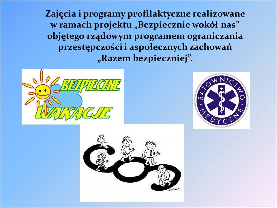"""Zajęcia i programy profilaktyczne realizowane w ramach projektu """"Bezpiecznie wokół nas objętego rządowym programem ograniczania przestępczości i aspołecznych zachowań """"Razem bezpieczniej ."""