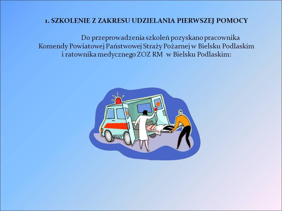 1. SZKOLENIE Z ZAKRESU UDZIELANIA PIERWSZEJ POMOCY Do przeprowadzenia szkoleń pozyskano pracownika Komendy Powiatowej Państwowej Straży Pożarnej w Bie
