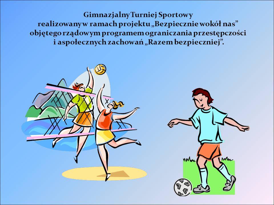 """Gimnazjalny Turniej Sportowy realizowany w ramach projektu """"Bezpiecznie wokół nas objętego rządowym programem ograniczania przestępczości i aspołecznych zachowań """"Razem bezpieczniej ."""