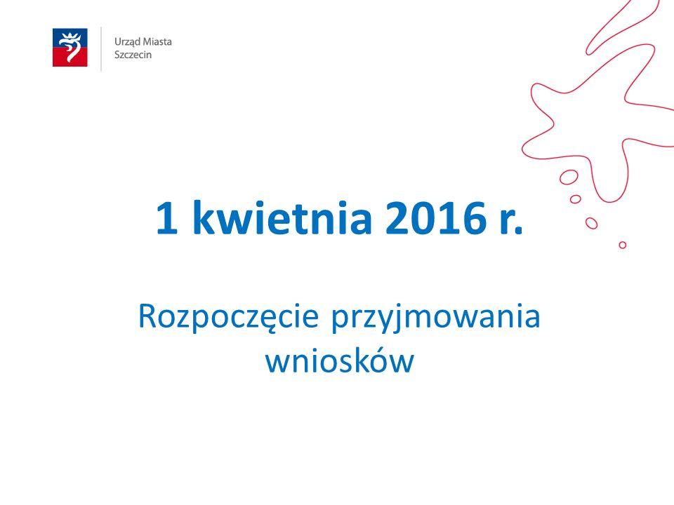 1 kwietnia 2016 r. Rozpoczęcie przyjmowania wniosków