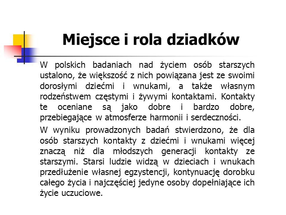 Miejsce i rola dziadków W polskich badaniach nad życiem osób starszych ustalono, że większość z nich powiązana jest ze swoimi dorosłymi dziećmi i wnuk