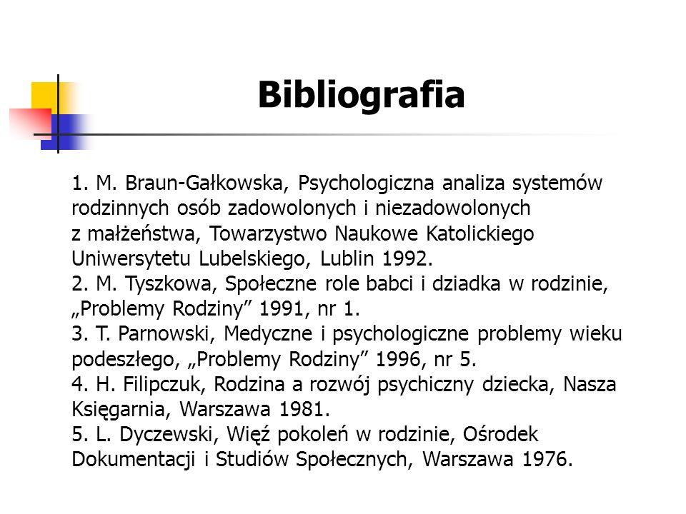 Bibliografia 1. M. Braun-Gałkowska, Psychologiczna analiza systemów rodzinnych osób zadowolonych i niezadowolonych z małżeństwa, Towarzystwo Naukowe K