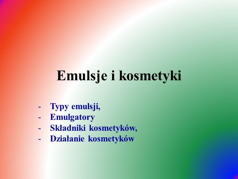 Emulsje  Środki czystości i kosmetyki są mieszaninami przynajmniej dwóch substancji: rozpuszczalnika (faza rozpraszająca) i substancji rozpuszczanej (faza rozpraszana)  W zależności od średnicy fazy rozpraszanej, mieszaniny dzieli się na (1nm = 10 -9 m) :  roztwory właściwe (rzeczywiste): Ø < 1nm  koloidy: 1nm ≥ Ø ≤ 200nm  zawiesiny: Ø ≥ 200nm  Większość kosmetyków należy do emulsji – rodzaj koloidu, czyli mieszaniny w której substancja nierozpuszczalna jest rozproszona w drugiej substancji z dodatkiem emulgatora, którego zadaniem jest utrzymanie trwałości emulsji