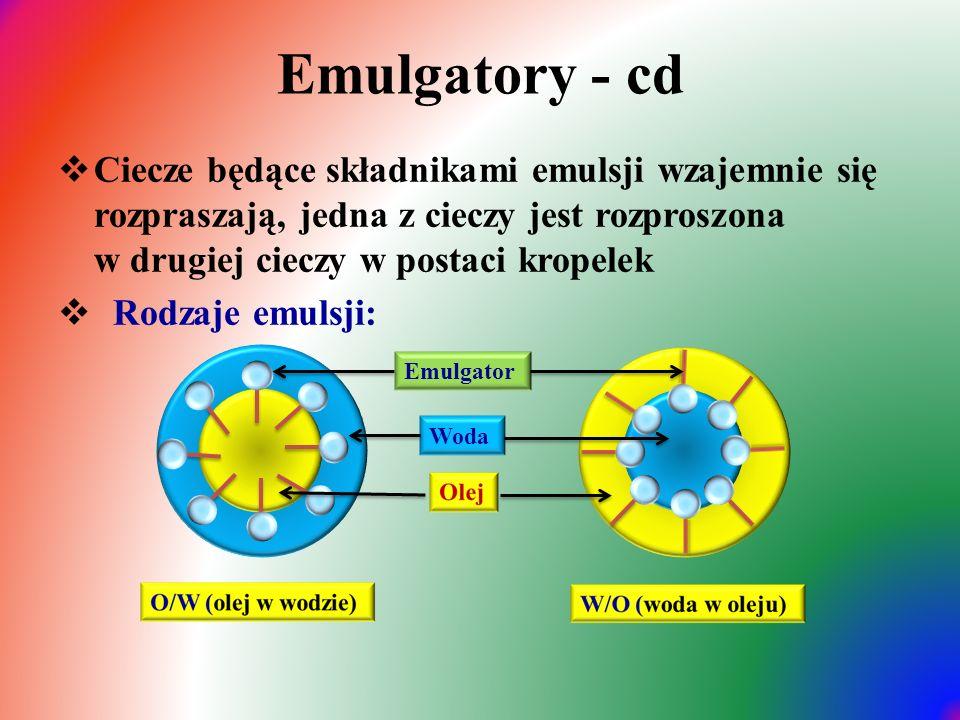 Emulgatory - cd  Ciecze będące składnikami emulsji wzajemnie się rozpraszają, jedna z cieczy jest rozproszona w drugiej cieczy w postaci kropelek  Rodzaje emulsji: Woda Emulgator