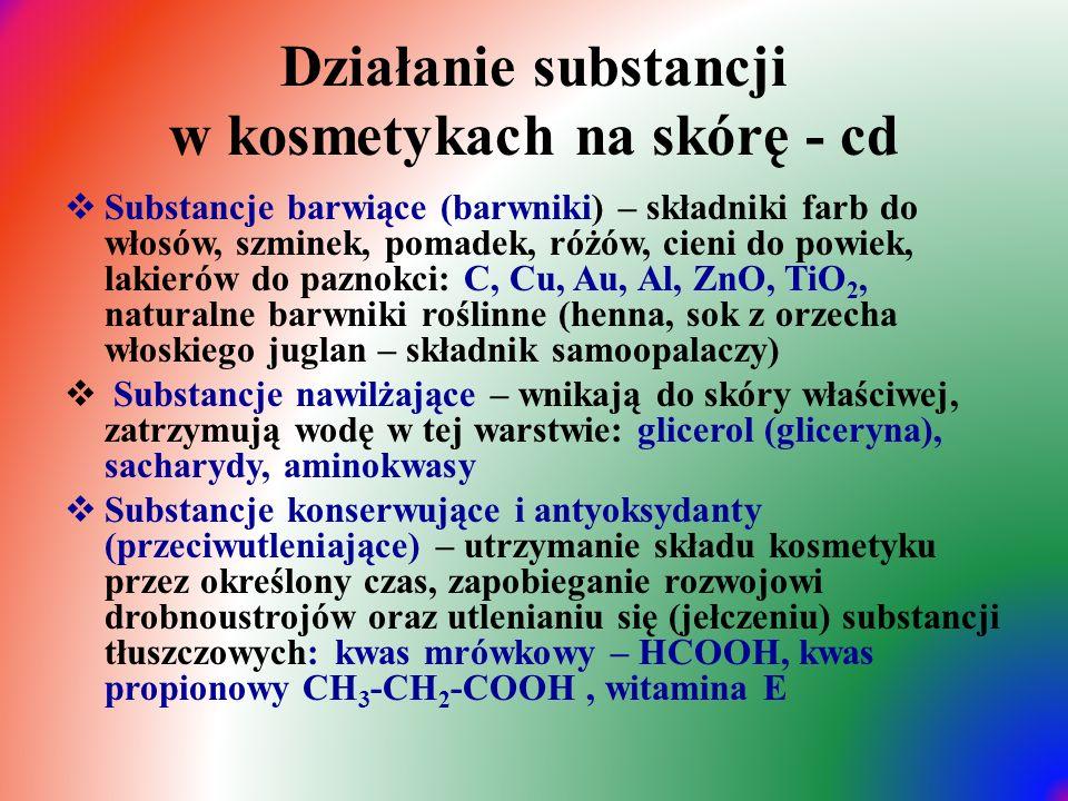 Działanie substancji w kosmetykach na skórę - cd  Substancje barwiące (barwniki) – składniki farb do włosów, szminek, pomadek, różów, cieni do powiek