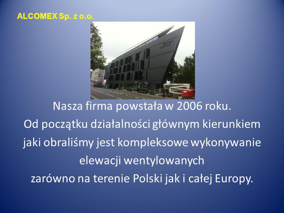 ALCOMEX Sp. z o.o. Nasza firma powstała w 2006 roku.