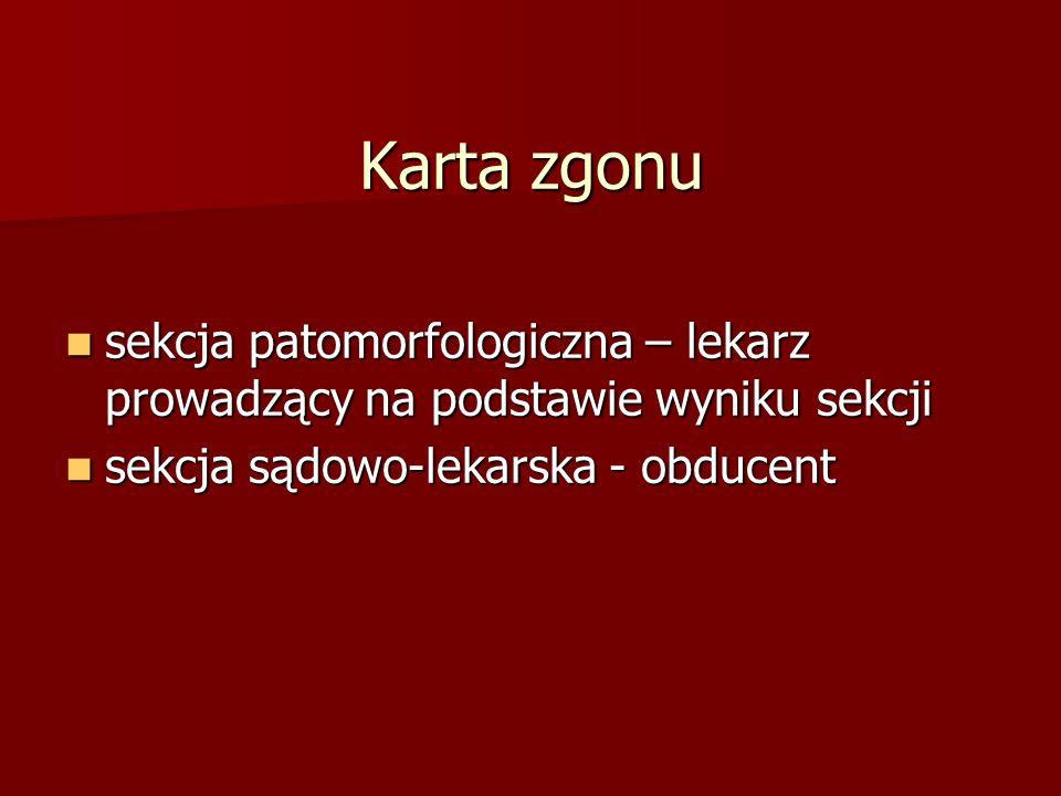 Karta zgonu sekcja patomorfologiczna – lekarz prowadzący na podstawie wyniku sekcji sekcja patomorfologiczna – lekarz prowadzący na podstawie wyniku sekcji sekcja sądowo-lekarska - obducent sekcja sądowo-lekarska - obducent