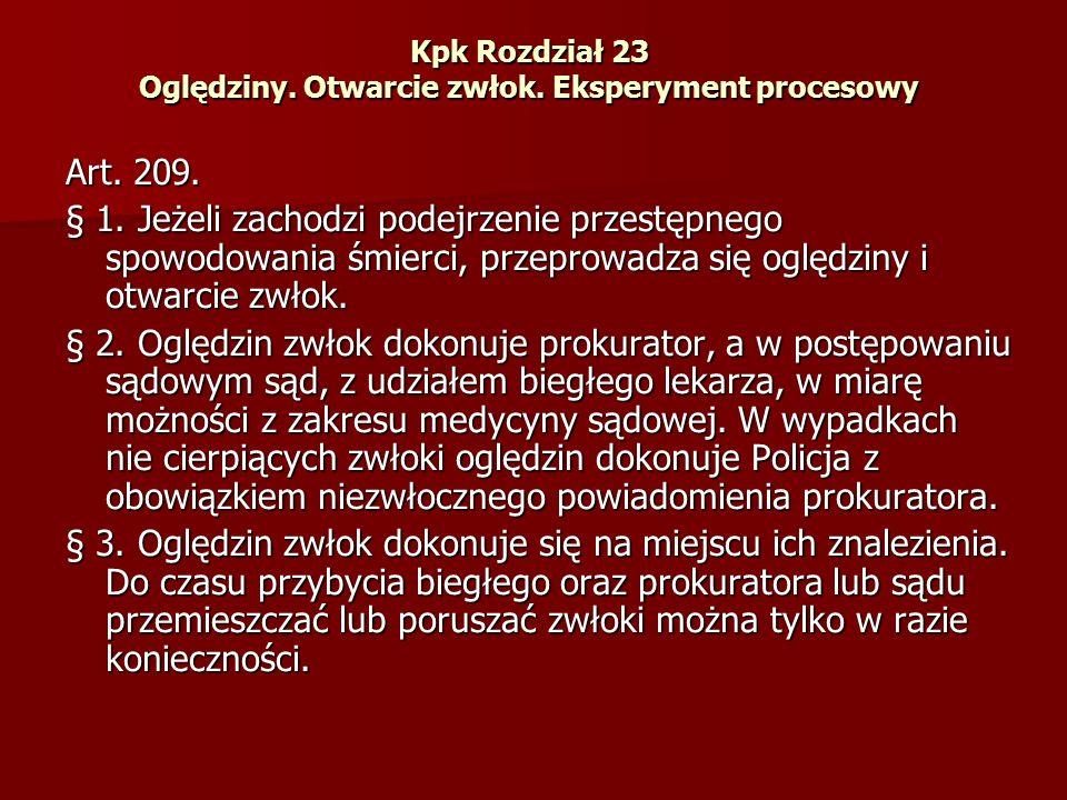 Art.209.cd § 4. Otwarcia zwłok dokonuje biegły w obecności prokuratora albo sądu.