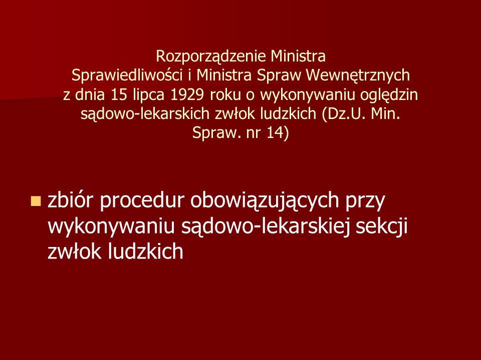 Rozporządzenie Ministra Sprawiedliwości i Ministra Spraw Wewnętrznych z dnia 15 lipca 1929 roku o wykonywaniu oględzin sądowo-lekarskich zwłok ludzkich (Dz.U.