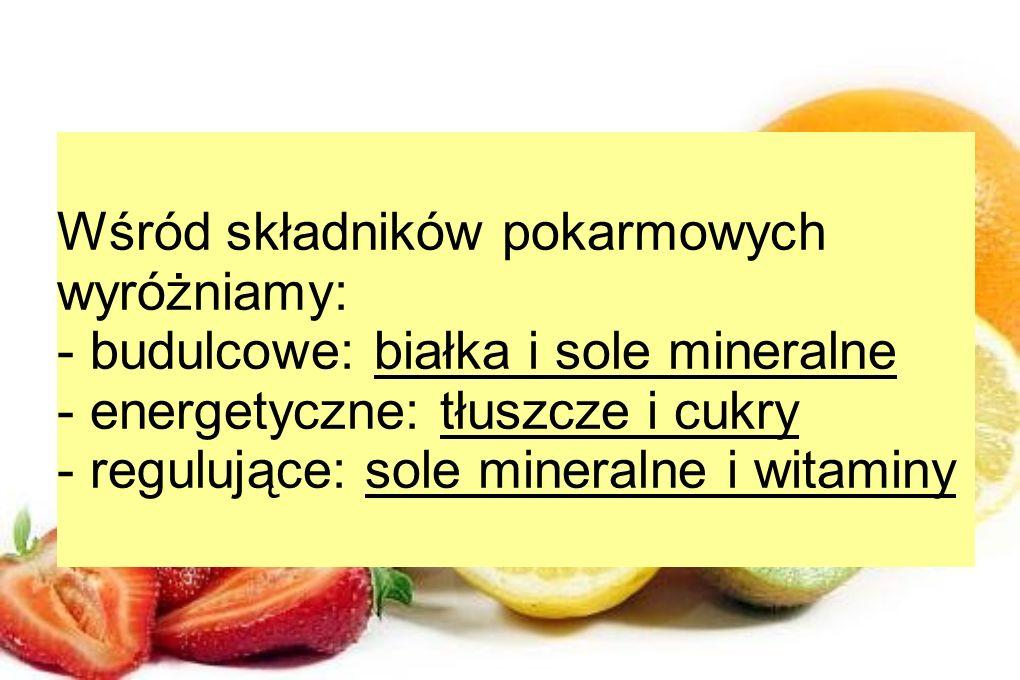 Wśród składników pokarmowych wyróżniamy: - budulcowe: białka i sole mineralne - energetyczne: tłuszcze i cukry - regulujące: sole mineralne i witaminy