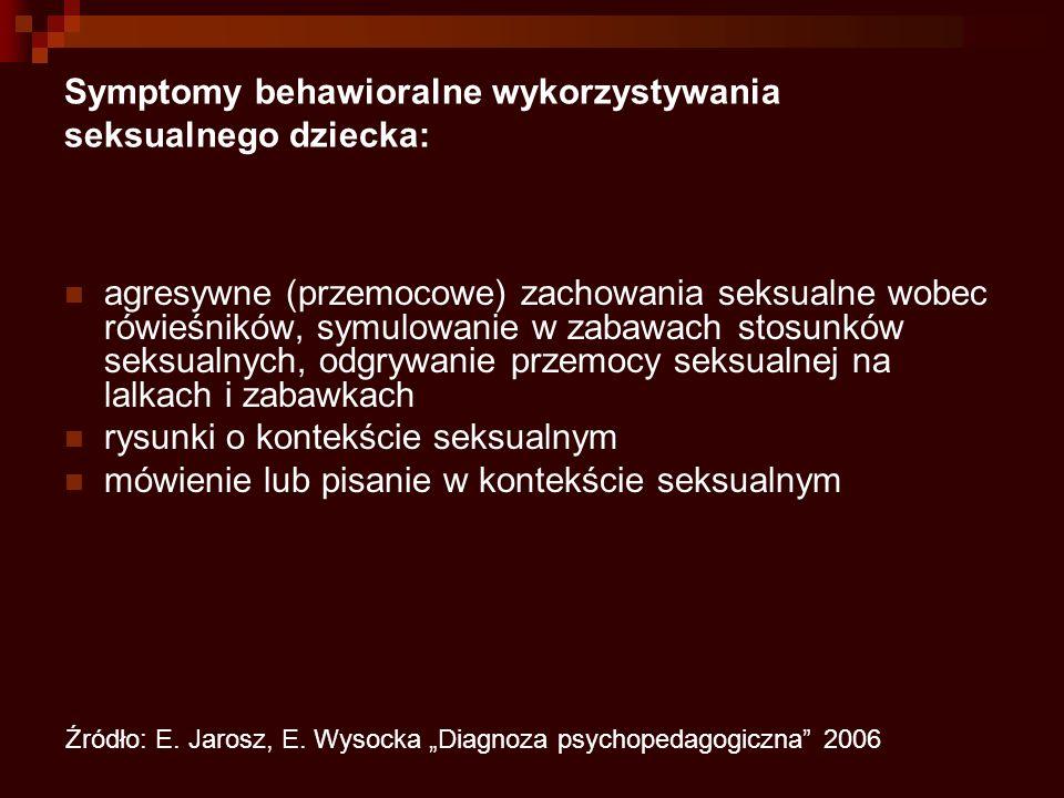Symptomy behawioralne wykorzystywania seksualnego dziecka: agresywne (przemocowe) zachowania seksualne wobec rówieśników, symulowanie w zabawach stosunków seksualnych, odgrywanie przemocy seksualnej na lalkach i zabawkach rysunki o kontekście seksualnym mówienie lub pisanie w kontekście seksualnym Źródło: E.