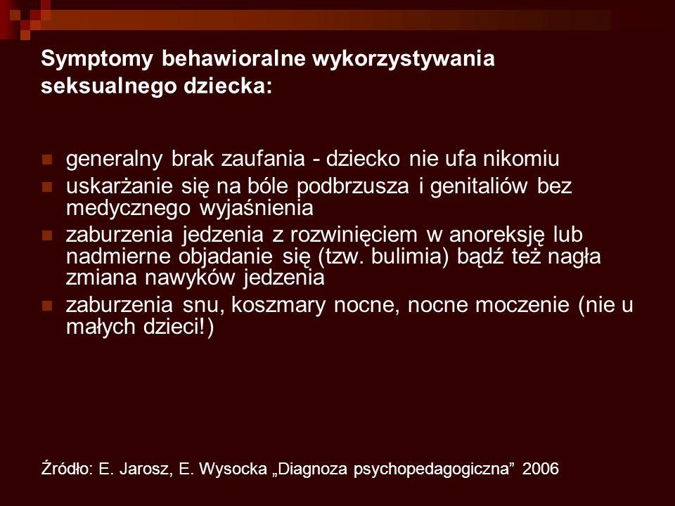 Symptomy behawioralne wykorzystywania seksualnego dziecka: generalny brak zaufania - dziecko nie ufa nikomiu uskarżanie się na bóle podbrzusza i genitaliów bez medycznego wyjaśnienia zaburzenia jedzenia z rozwinięciem w anoreksję lub nadmierne objadanie się (tzw.