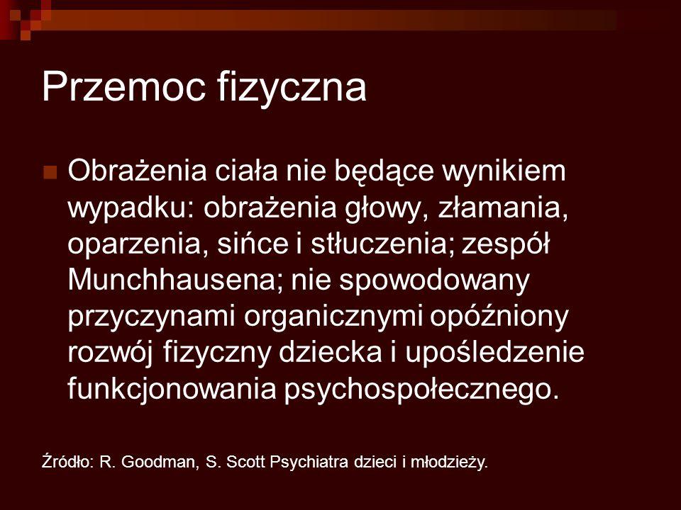 Przemoc fizyczna Obrażenia ciała nie będące wynikiem wypadku: obrażenia głowy, złamania, oparzenia, sińce i stłuczenia; zespół Munchhausena; nie spowodowany przyczynami organicznymi opóźniony rozwój fizyczny dziecka i upośledzenie funkcjonowania psychospołecznego.